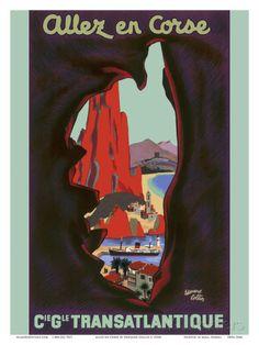 Allez en Corse (Go to Corsica) - Compagnie Générale Transatlantique (French Line) Reproduction d'art
