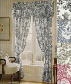 Victoria Park Toile Curtains - Style # - A. Ellis - Rod Pocket Curtains Blue toile for Bluebell. I could cut large panels down to make ones for the Rpod. Toile Curtains, Dining Room Curtains, Curtains And Draperies, Long Curtains, Rod Pocket Curtains, Valances, Drapery, Waverly Curtains, Farmhouse Curtains