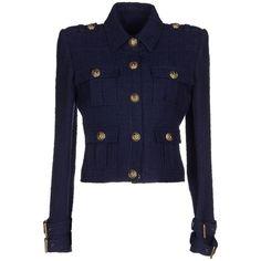Balmain Blazer ($2,027) ❤ liked on Polyvore featuring outerwear, jackets, blazers, dark blue, balmain, long sleeve blazer, balmain blazer, multi pocket jacket and blue tweed blazer