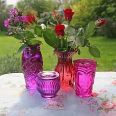 I love using unique and pretty vases/jars for flowers! These would be beautiful!