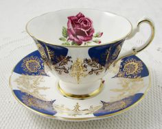Paragon Blue Tea Cup and Saucer with Gold Decor and Red Rose, Vintage Tea Cup, Bone China