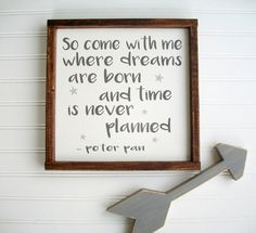 Peter Pan Sign . Come with me where dreams are born . Nursery