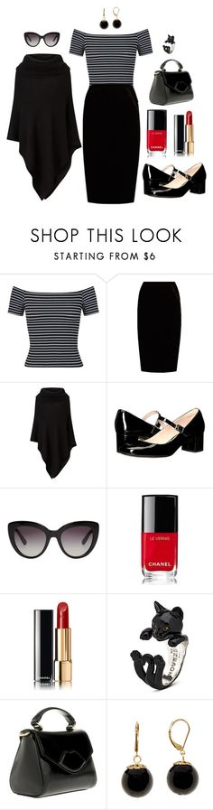 """Work wear - Cat lady"" by ulrika-roos on Polyvore featuring Miss Selfridge, Jupe By Jackie, Phase Eight, Clarks, Dolce&Gabbana, Chanel, Lulu Guinness and Trina Turk"