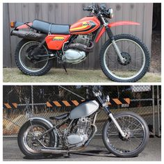 my #xl500 before and after.. felt bad choppin such a clean bike up but lucky i got enough spares to build up another one