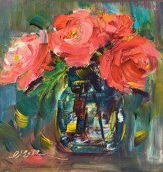 """Summer Blooming by Lisa Fu Oil ~ 6"""" x 6"""""""