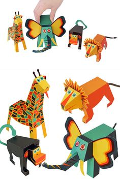 Jungle Animals Paper Toys  DIY Paper Craft Kit  3D Paper