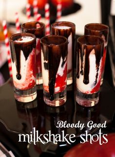 Twilight Bloody Good Vampire Milkshake Shots bloody good vampire milkshake shots… for your halloween party, a drink that will delight even the most brooding vampire! More from my siteVampire's Elixir Vampire's Elixir Vampire Drink Halloween Party Decor Disney Halloween, Halloween Goodies, Halloween Food For Party, Halloween Treats, Halloween Cupcakes, Vampire Halloween Party, Vampire Theme Party, Halloween Food For Adults, Halloween Chocolate