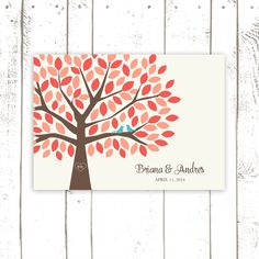 Coral Guest Book Wedding Guest Book for 100 by MooseberryPaperCo