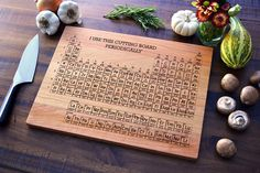 Personalized Cutting Board engraved periodic by ElysiumWoodworks, $55.00