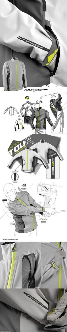 Sun Mountain Tour Series Golf Jacket, from first sketch, to last sample feedbacks, including hangtags and photoshooting