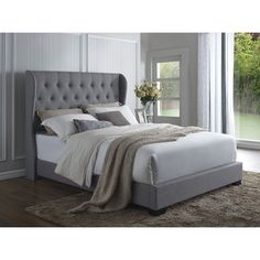 DG Casa Exeter Grey Linen Wingback Bed | Overstock.com Shopping - The Best Deals on Beds