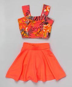 We've gathered our favorite ideas for Loving This Just Kids Neon Coral Floral Crop Top Set, Explore our list of popular images of Loving This Just Kids Neon Coral Floral Crop Top Set. Cute Girl Outfits, Cute Summer Outfits, Teen Fashion Outfits, Trendy Outfits, Cool Outfits, Girl Fashion, Crop Tops For Kids, Girls Crop Tops, Cute Crop Tops