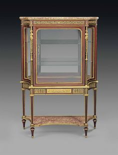A FRENCH ORMOLU-MOUNTED MAHOGANY VITRINE CABINET - BY HENRY DASSON, PARIS, DATED 1885.