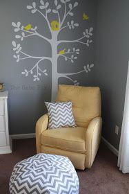 Gray + yellow nursery, I love the tree on the wall