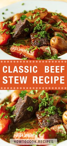 1 reviews · 8.5 hours · Serves 10 · With the colder weather out there, it's time to take a load off your dinner prep and let your slow cooker do all the work. This classic beef stew recipe is a family favorite for a reason. I have an… Brunch Recipes, Meat Recipes, Cooking Recipes, Sweets Recipes, Dinner Recipes, Desserts, Hearty Stew Recipe, Easy Beef Stew, Classic Beef Stew