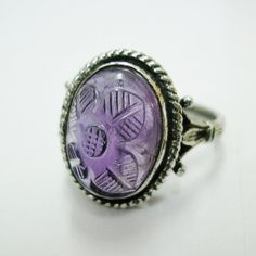 Signet Ring Sterling Silver Antique Carved Floral by HighArt, $78.00