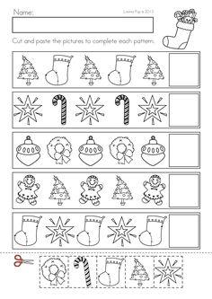 Christmas Math & Literacy Worksheets & Activities No Prep packet for Kindergarten. Christmas Worksheets Kindergarten, Kindergarten Math Worksheets, Preschool Christmas, Noel Christmas, In Kindergarten, Preschool Activities, Math Literacy, Pattern Worksheet, Theme Noel