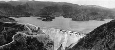 St Francis Dam in California - designed by, and construction was supervised by, William Mulholland. In San Francisquito Canyon in the hills just north of the Santa Clarita Valley. It was completed in California History, Vintage California, Southern California, St Francis Dam, Pasadena Los Angeles, Flood Areas, Dam Construction, Farm Town
