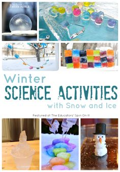 Easy Winter Science Activities with Ice and Snow for Kids: Winter is here! There's no doubt that Winter has arrived in the US based on the temperatures the past week. Here are several playful ways to explore science with ice and snow with your child. Preschool Science, Science Experiments Kids, Science For Kids, Science Projects, Science Fun, Elementary Science, Science Ideas, Teaching Science, Science Education