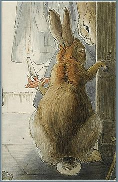 chasingtailfeathers: Beatrix Potter 'The Rabbits' Christmas Party - The Departure' (detail)
