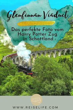 Das Glenfinnan Viadukt liegt im Westen Schottlands, circa 30 km von Fort William entfernt. Du wirst es vielleicht kennen – denn über dieses Viadukt fährt der berühmte Harry Potter Zug (Jacobite Steam Train). Selbst wenn du keine Möglichkeit hast mit diesem tollen Zug zu fahren, lohnt es sich einen Stopp einzulegen und ein schönes Erinnerungsfoto zu schießen. Schottland Reisetipps I Schottland Reise I Schottland Rundreise I Schottland Roadtrip I Schottland Zug #reiselife #zugfräulein Reisen In Europa, Roadtrip, Hogwarts, Harry Potter, Day, Nature, Blog, Travel, Inspiration
