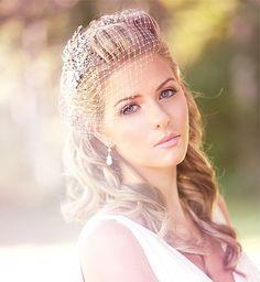 Petite Birdcage Veil with Swarovski Rhinestones, Wedding veil, Bridal Veil, Wedding hair Accessory by PowderBlueBijoux on Etsy https://www.etsy.com/listing/83814910/petite-birdcage-veil-with-swarovski