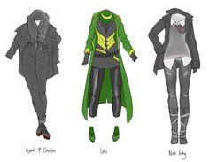 A Full Line of Heroic LBD's & Super Sundresses Designed by/via Fortunate in Deceit Loki & Thor Pop Style Ensemble Design. Thor Y Loki, Lady Loki, Nerd Fashion, Fandom Fashion, Avengers Outfits, Avengers Girl, Avengers Costumes, Loki Cosplay, Loki Costume