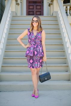 Infuse the #ColoroftheYear into an outfit by opting for a print incorporating #RadiantOrchid! Love this look from @Julia Engel of Gal Meets Glam!