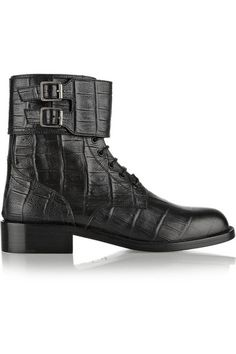Saint Laurent|Patti croc-effect leather ankle boots. Great ankle boots - love the patterned leather, and the buckled cuff.