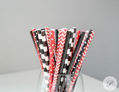 UNIVERSITY RED & BLACK // Paper Straws // Stripes - Polka Dots // Graduation Party // N.C. State // Georgia // Texas Tech // Utah // Rutgers by PeoniesPolkaDots on Etsy https://www.etsy.com/listing/235408120/university-red-black-paper-straws