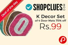 Shopclues #DealofTheDay is offering 75% off on K Decor Set of 4 Door Mats at Rs.99. K Decor Cotton Door Mats (12 x 18 Inches) Multicolour Set of 4, Content- Fabric: Cotton Size: Door Mats : 12 x 18 Inches, A combination of cotton is ever bought to get a good stuff designer collection. Wash Care: Hand Wash Wash in cold water with normal detergent. Do not bleach. Dry in shade. Coupon Code – SCDCSOPB4  http://www.paisebachaoindia.com/k-decor-set-of-4-door-mats-75-off-at-rs-99-shopclues/