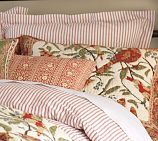 Vintage ticking stripe twin duvet cover & sham (not the birds, lol).  He has one now but it's more burgundy red than I wanted.