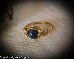 Wire Wrapped Brass Navy Blue Cats Eye Ring size by superioragates, $8.00