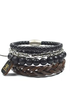 4 Pack Leather and Tibetan Style Set