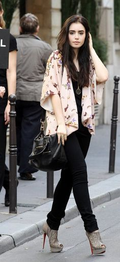Lily Collins shopping In Paris