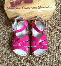f5c14c1e8e1 Salt Water Sandals Shiny Pink 7 Buckle Leather Summer Proof Little