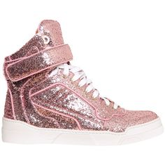Givenchy Tyson glitter high-top sneakers ($425) ❤ liked on Polyvore featuring shoes, sneakers, pink, pink shoes, summer sneakers, velcro shoes, glitter high tops and high top shoes