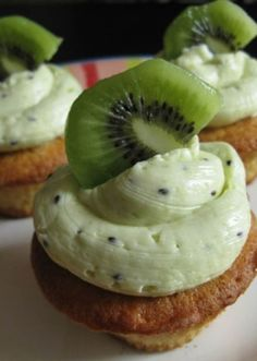 Kiwi Vanilla Cupcakes with Kiwi Buttercream Frosting #cupcakes #cupcakeideas #cupcakerecipes #food #yummy #sweet #delicious #cupcake