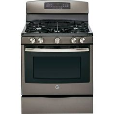 "GE - 30"" Self-Cleaning Freestanding Gas Convection Range - Slate"
