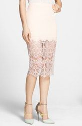 Shop For ASTR Textured Lace Hem Pencil Skirt Ads Look At