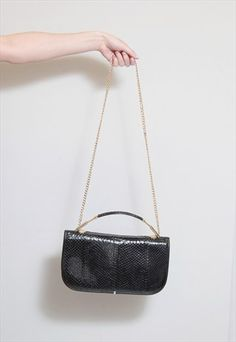 Vintage 1980's Black Textured Leather Handbag
