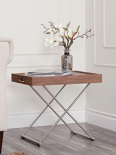 Hanna Walnut Tray Bar Wood End Table | Abbyson Home