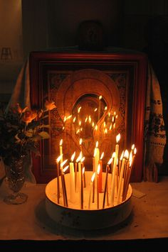 icon and candles (Photo: Jim Forest) - from blog entry on visiting an Orthodox church