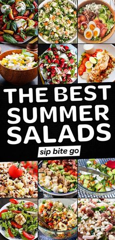 Want easy summer salad recipes? See my list of the best healthy salads for appetizers and lunch. Plus the best salads for cookouts, outdoor parties, and picnics. | sipbitego.com Summer Lunch Recipes, Best Summer Salads, Summer Pasta Salad, Healthy Summer, Healthy Salad Recipes, Drink Recipes, Healthy Food, Fun Easy Recipes, Amazing Recipes
