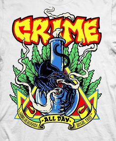CRIME been doing t-shirts in Argentina for 20 years and we… by - Piknu Graphic Artwork, Cool Artwork, Weed, Skateboard Logo, Stoner Art, Skate Art, Digital Collage, Little Sisters, Crime