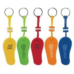 Floating Flip Flop Keytag.  Made from buoyant EVA foam to ensure your keys stay afloat in the water. These bright colors make locating your keys a breeze.  #tradeshow giveaways #2017 tradeshow giveaway trends