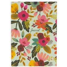 This pretty Rifle Paper mint floral journal features a soft linen cover with hand-painted florals and smyth sewn binding for durability. The interior pages are printed with metallic gold lines and acc