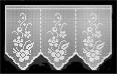 Crochet: Samples crochet curtains with graphics. Filet Crochet, Crochet Lace Edging, Crochet Borders, Crochet Art, Thread Crochet, Crochet Doilies, Crochet Flowers, Crochet Curtains, Lace Curtains