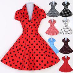 Abito Donna Vintage Stile Anni 50 Festa da Swing Hepburn Vestito XS-L Abiti  Pin 3f90c10f38a