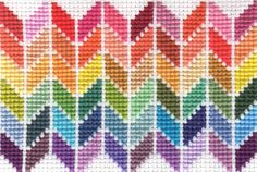 Framed Rainbow Chevron Cross Stitch